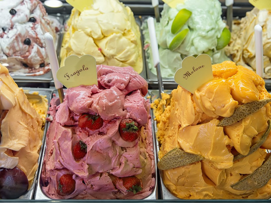 freezing point depression with solutes like sugar and salt can be key to great smooth ice cream - Variety of yummy ice creams under shopping window