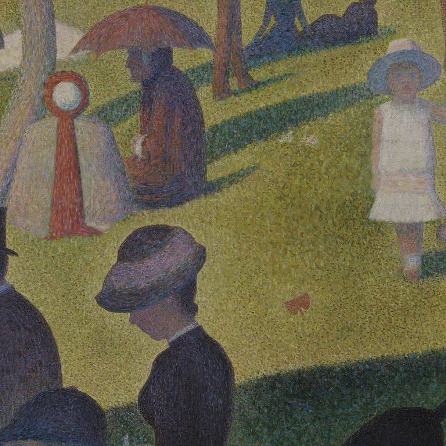 A close-up of the painting that shows the clear contrast of distinct colors.