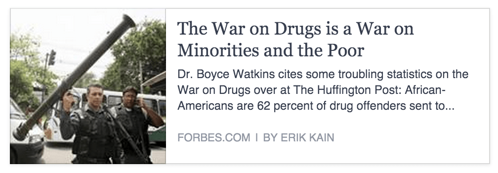 The War on Drugs is a War on Minorities and the Poor