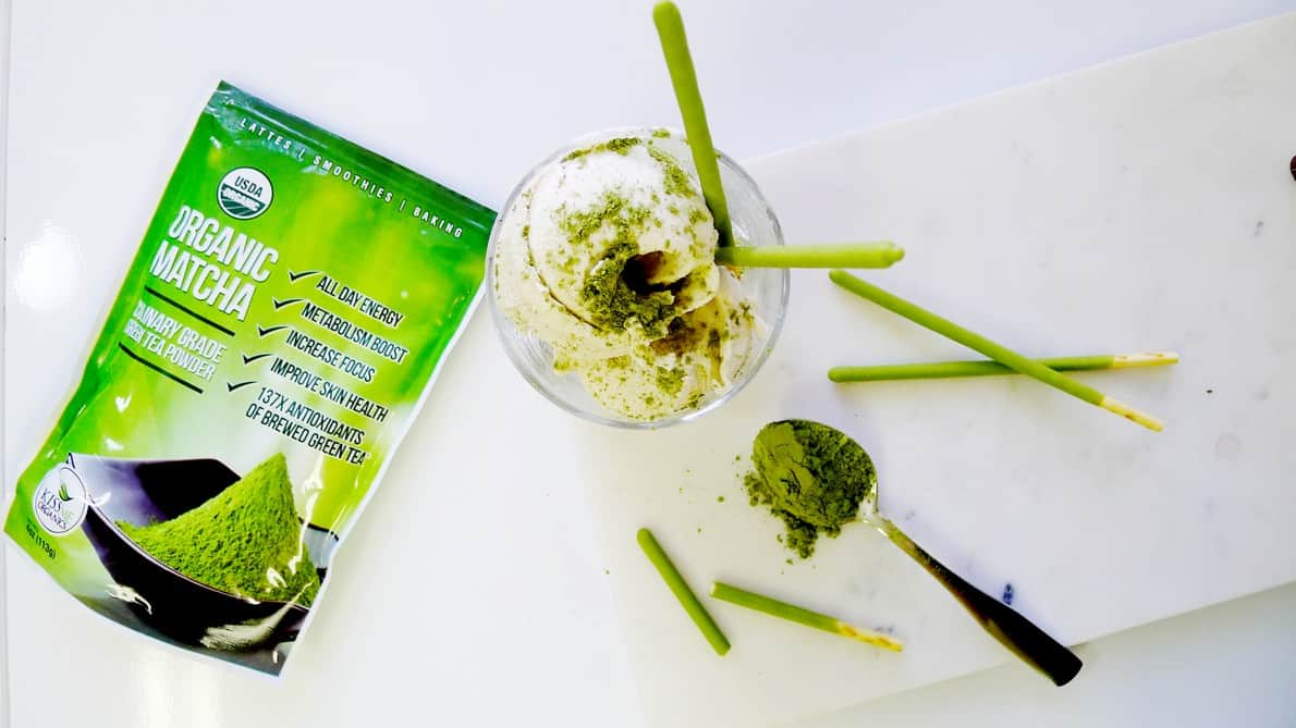 Kiss Me Organics Matcha Green Tea Powder Review | Matcha Green Tea Ice Cream Recipe