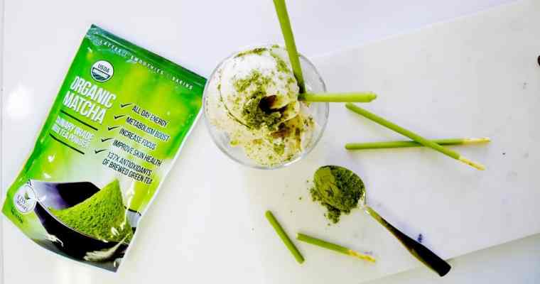 Matcha Green Tea Ice Cream Recipe | Kiss Me Organics Matcha Green Tea Powder Review
