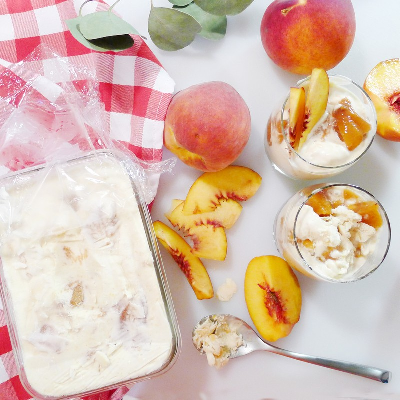 No Churn Homemade Peach Ice Cream Recipe Dessert Vanilla Instaomss Nomss