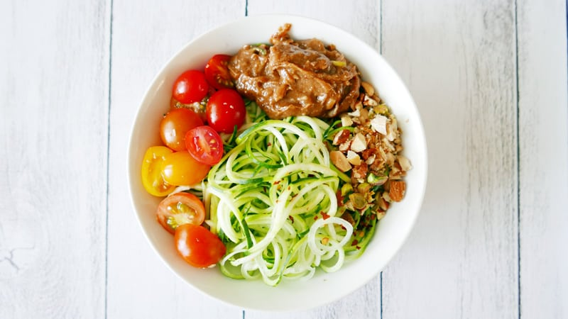 zucchini noodles with asian ginger almond butter sauce dressing Instanomss Nomss Food Photography Healthy Travel Lifestyle Canada