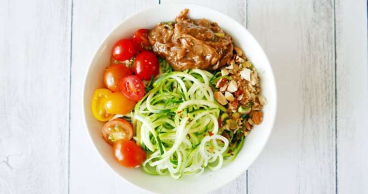 Zucchini Noodles with Asian Ginger Almond Butter Dressing Recipe