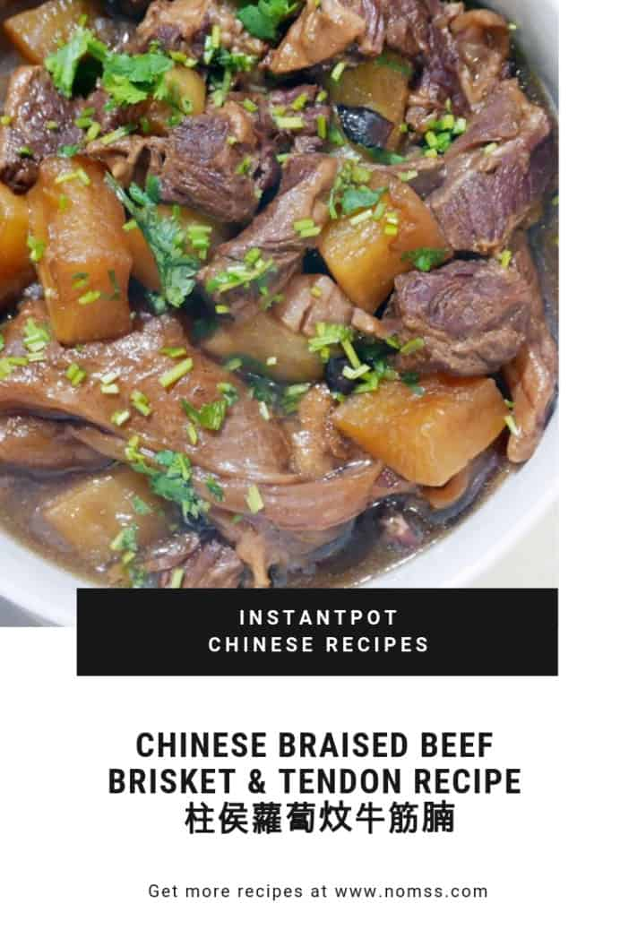 Easy IntantPot CHINESE BRAISED BEEF BRISKET & TENDON RECIPE 柱侯蘿蔔炆牛筋腩 NOMSS.com FOOD BLOG VANCOUVER #instanomss #chineserecipe #brisket #chinese