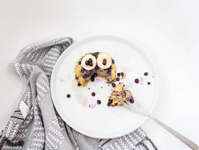 3 Ingredient Blueberry Banana Pancakes | Gluten Free, Dairy Free, Paleo
