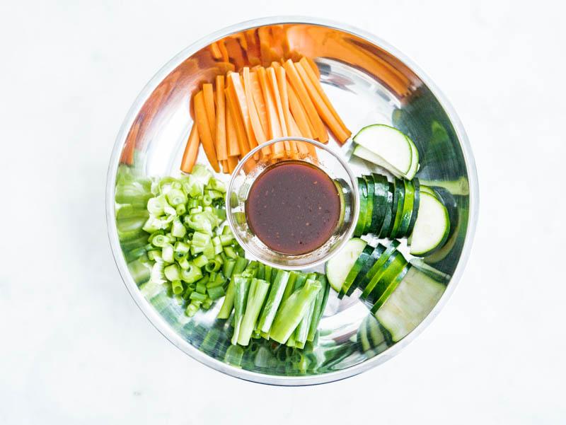 bibimbap carrots green onions zucchini