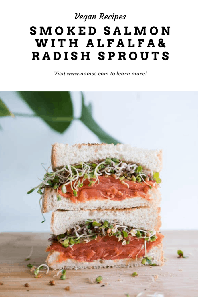 This supersized smoked salmon sandwich with sprouts, and creamy dill cream cheese is perfect for brunch or afternoon tea. Most grocery stores sell pre-sliced smoked salmon and cream cheese, which makes this recipe super easy! Top it with some homegrown alfalfa sprouts, capers and thinly sliced red onions for an extra layer of delicious crunch!#sandwich #smokedsalmonsandwich #afternoonteasandwich #teasandwich #lox #bagelparty #brunchrecipes #easysandwiches #instanomss