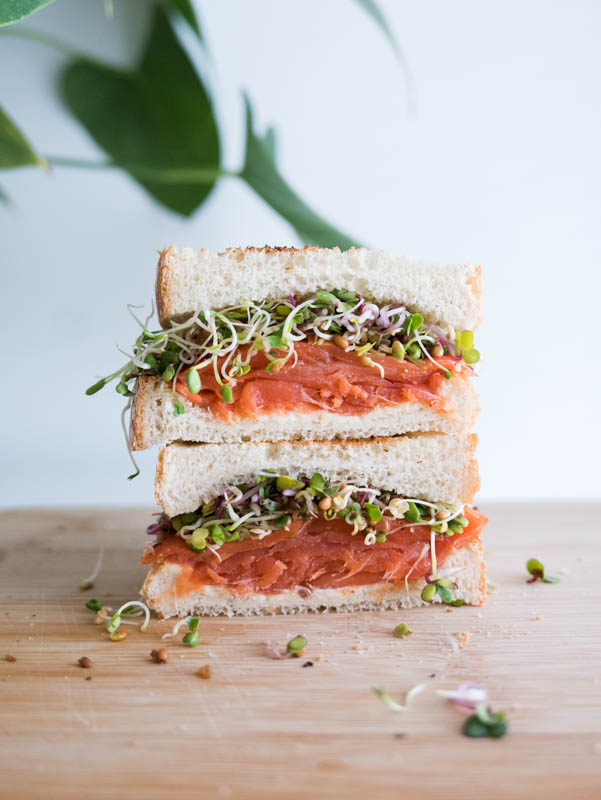 Smoked Salmon cream cheese Sprouts Sandwich
