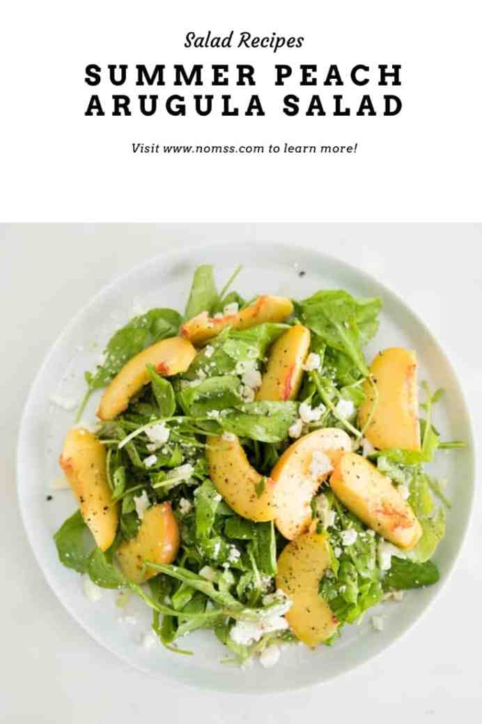 Make this refreshingly delicious summer salad bursting with juicy ripe peaches, bright feta, nutty pine nuts and fragrant elderflower vinaigrette against the pepper bite of arugula in just 5 minutes!!  #peachsalad #summersaladrecipes #peachrecipes #elderflower #easyvinaigretterecipes #instanomss #bcpeaches #fetacheesesalads #fetacheeserecipes