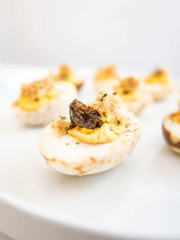 Chinese Deviled Eggs with Pork Floss and Nori Seaweed Flakes