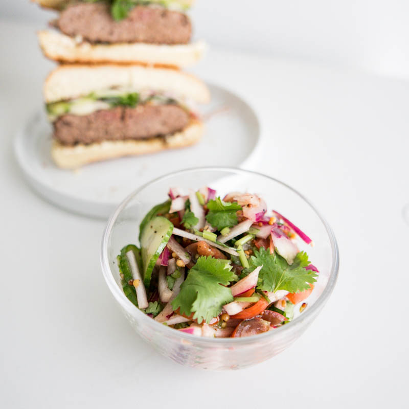 Vegan Burger israeli salad