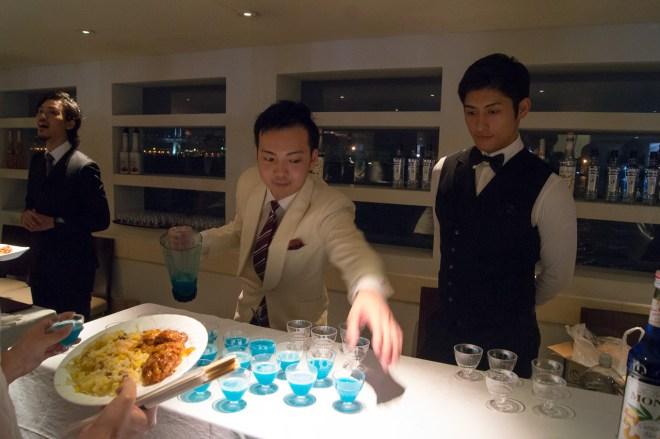 "D.jr's ""Artemis"" cocktail: -20ml Viru Vilge Classic -15ml Marie Brizard Peach liqueur -15ml fresh grapefruit juice -10ml Monin Blue Curacao syrup"