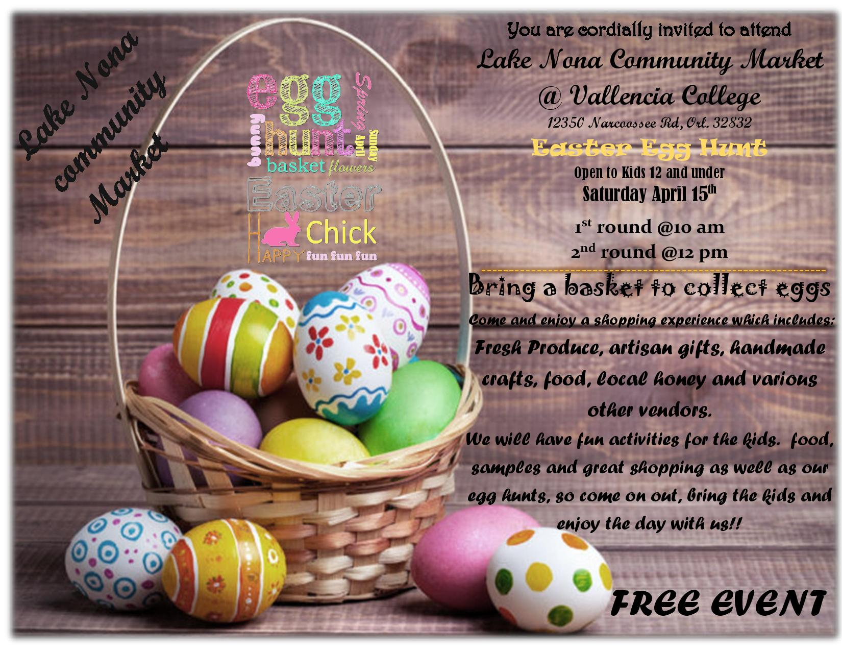 Free easter egg hunt nonahood news come and enjoy a shopping experience which includes fresh produce artisan gifts handmade crafts food local honey and more we will have fun activities negle Choice Image