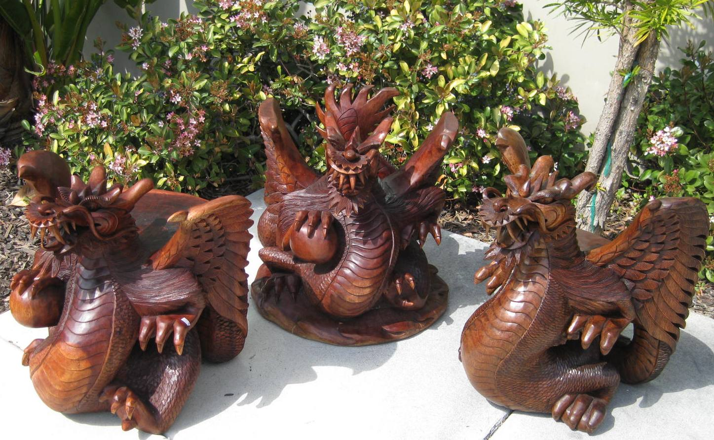 wooden hand chair bali christmas recliner covers set of carved dragon table and stools from