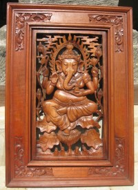 Hand Carved Ganesha Wood Panel