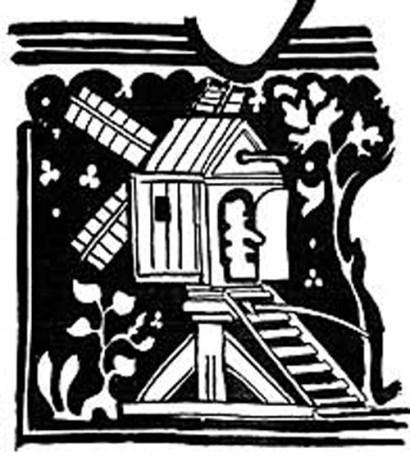 A post mill, taken from a King's Lynn, Norfolk, funeral brass, 1349