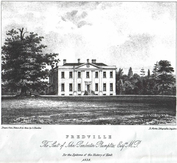 A lithographic engraving of Fredville from: An Epitome of County History Wherein the Most Remarkable Objects, Persons, and Events, Are Briefly Treated Of; The Seats, Residences, Etc. Of the Nobility, Clergy, and Gentry; County of Kent by C. Greenwood. Published for the Proprietor, at the Office of the Author in London 1838