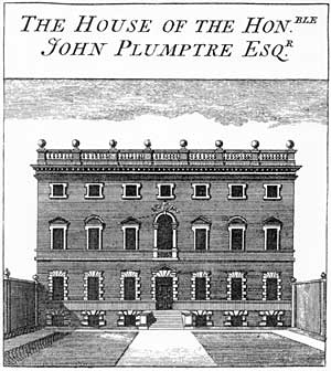 Plumptre House, Nottingham, from Deering's History of Nottingham 1751. It was described by Deering, who had financial assistance from John Plumptre, in his 1750 history of Nottingham as exhibiting Italian taste on the exterior but English taste inside. Plumptre House was the first recorded instance of an architect of national standing being employed on a private building in Nottingham. Plumptre House was a Georgian mansion in Stoney Street, next to St. Mary's Church, built in 1707 it was re-designed by Colen Campbell, (15 June 1676 – 13 September 1729) a pioneering Scottish architect and architectural writer, credited as a founder of the Georgian style who spent most of his career in Italy and England, for the local M.P. John Plumptre, somewhere between 1723 and 1734. Campbell enlarged it into a Palladian mansion facing east, rebuilding the east wing of the earlier 'H' shaped house and adding a new three-and-a-half storey front facing Stoney Street which necessitated the demolition of adjacent property to form a walled forecourt.