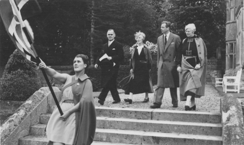 The Duke of Kent on a tour of the college in June, 1939, accompanied by Miss Wright and her deputy. The flag carrier was the senior student, Miss Jessie Bennett.
