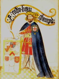 John de Beauchamp, one of the founding Knights of the Garter. Pictured in The Garter Book, 1435