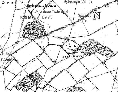 Aylesham Wood in the 1870′s. It directly bordered onto Curleswood Park, now largely covered by Aylesham village and industrial estate. The open ground between the wood and the junction of Spinney Lane and the B2046 was once poor quality agricultural land called Poor Start and Little Profit. It's now over grown and has become part of the original Aylesham Wood.