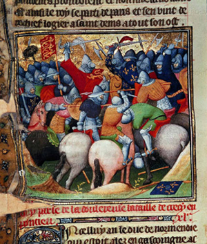 "Scene from the Battle of Crecy, 1346. Fierce fighting between soldiers and knights in armour during the Battle of Crecy, Picardie,France. From ""Les Chroniques de France"" ,The British Library, London, Great Britain"