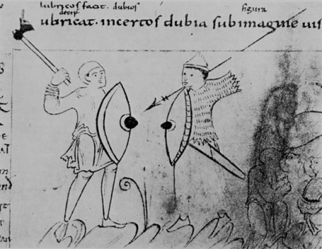 A Saxon (left) tries to repel a Viking raider (from a contemporary manuscript)