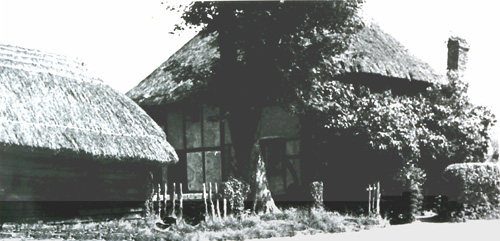 Easole-Thatched cottage bottom of Mill Lane with barn 1920's b&w crop