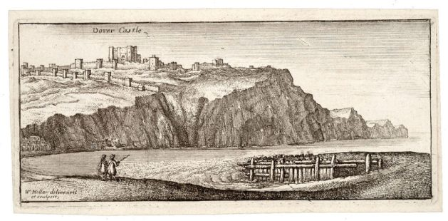 Dover Castle from the south-east. A contemporary print by Wencelas Holler