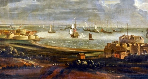 A painting by an unknown late 17th century artist which is almost contemporary to the Kent Rebellion showing Walmer Castle to the right, Deal Castle in the left mid view and Sandown Castle in the far left distance. The scene would have looked very similar during the rebellion with the Navy ships anchored off-shore in the Downs.