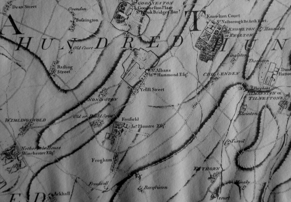 1769 Nonington crop b&w from Andrews map