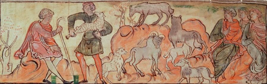 Anglo Saxon shepherd tending sheep