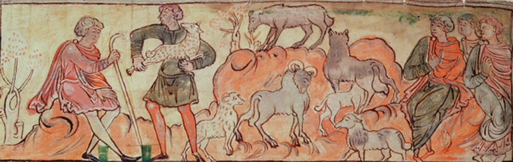 Anglo Saxon shepherd tending sheep