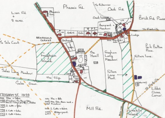 A sketch map of Frogham Street copied from the 1859 Poor Law Commissioners apportionment map.
