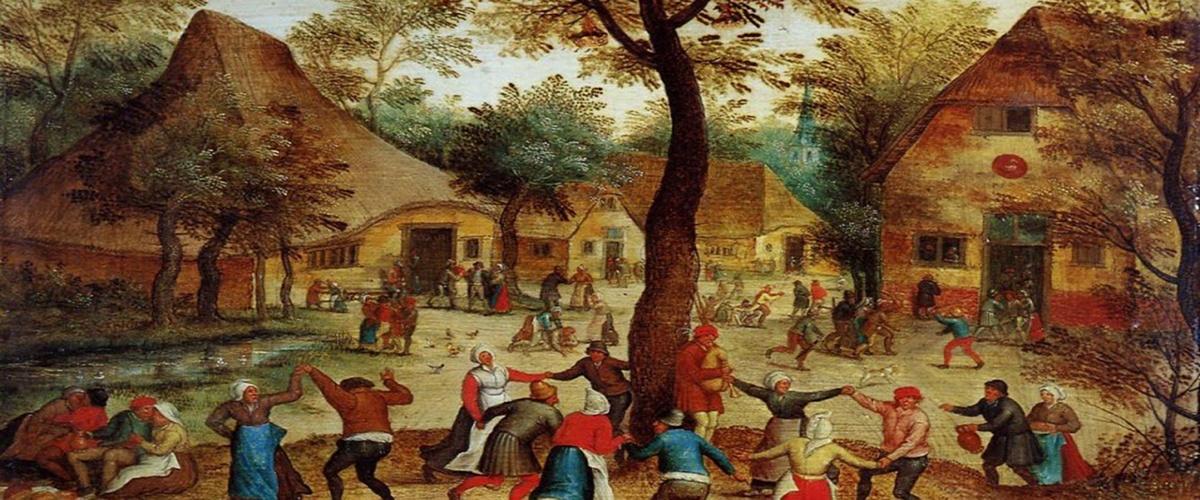 Pieter Bruegel il Giovane - Scena di villaggio con danza intorno al palo di maggio 1634