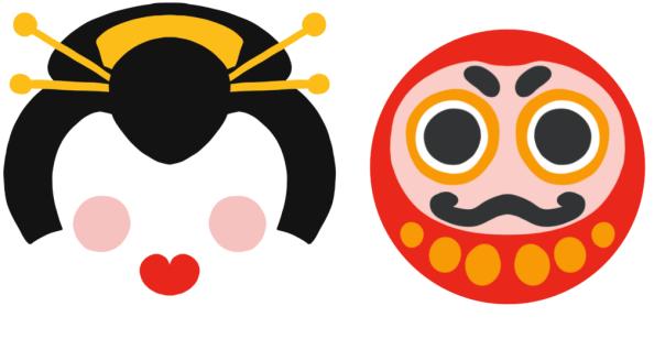 dessin de geisha et de daruma