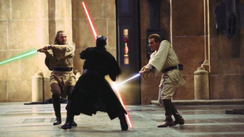 Star Wars Episodio I - La minaccia fantasma citazioni e dialoghi di George Lucas con Liam Neeson, Ewan McGregor, Natalie Portman, Jake Lloyd, combattimento con Darth Maul