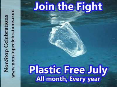 Plastic Free July. Help stop plastic pollution; sandwich baggy floating in the Red Sea