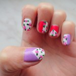 NOTD: floral, stripes and triangles