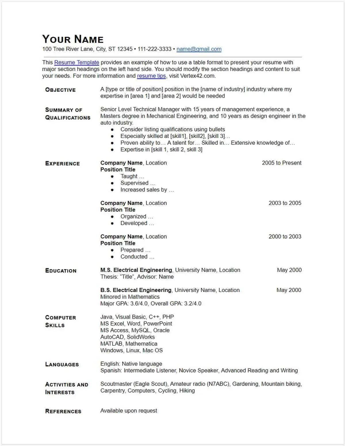 clean resume template google docs