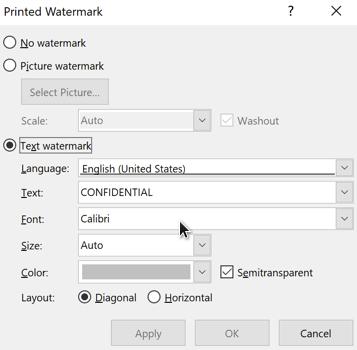 cara membuat watermark teks di word