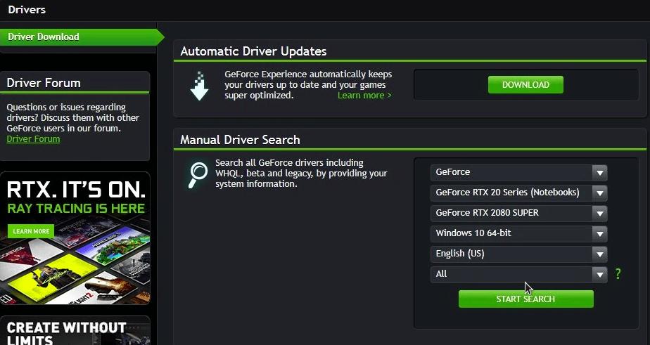 website driver vg nvidia
