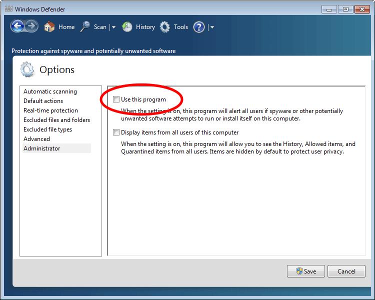 cara mematikan windows defender di windows 7
