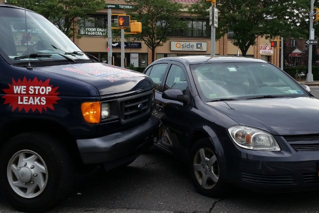 Company van involved in a car accident