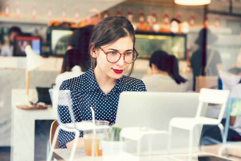 Remote worker working in a cafe