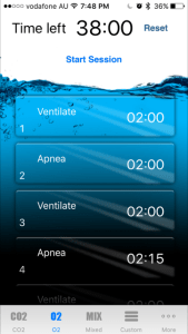 I used the I Hold Breath app to create custom O2 and CO2 tables based on the five minute free diver. Preparing for a spearfishing trip