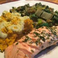 Fish in Tarragon Sauce with Creamy Mash and Mixed Greens - AIP, Low FODMAP and low carb