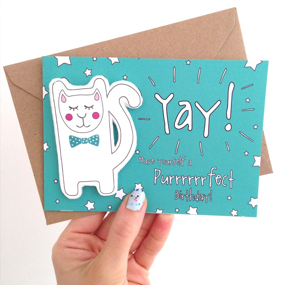 Yay! Clever Puss Birthday Finger Puppet Card Nook And