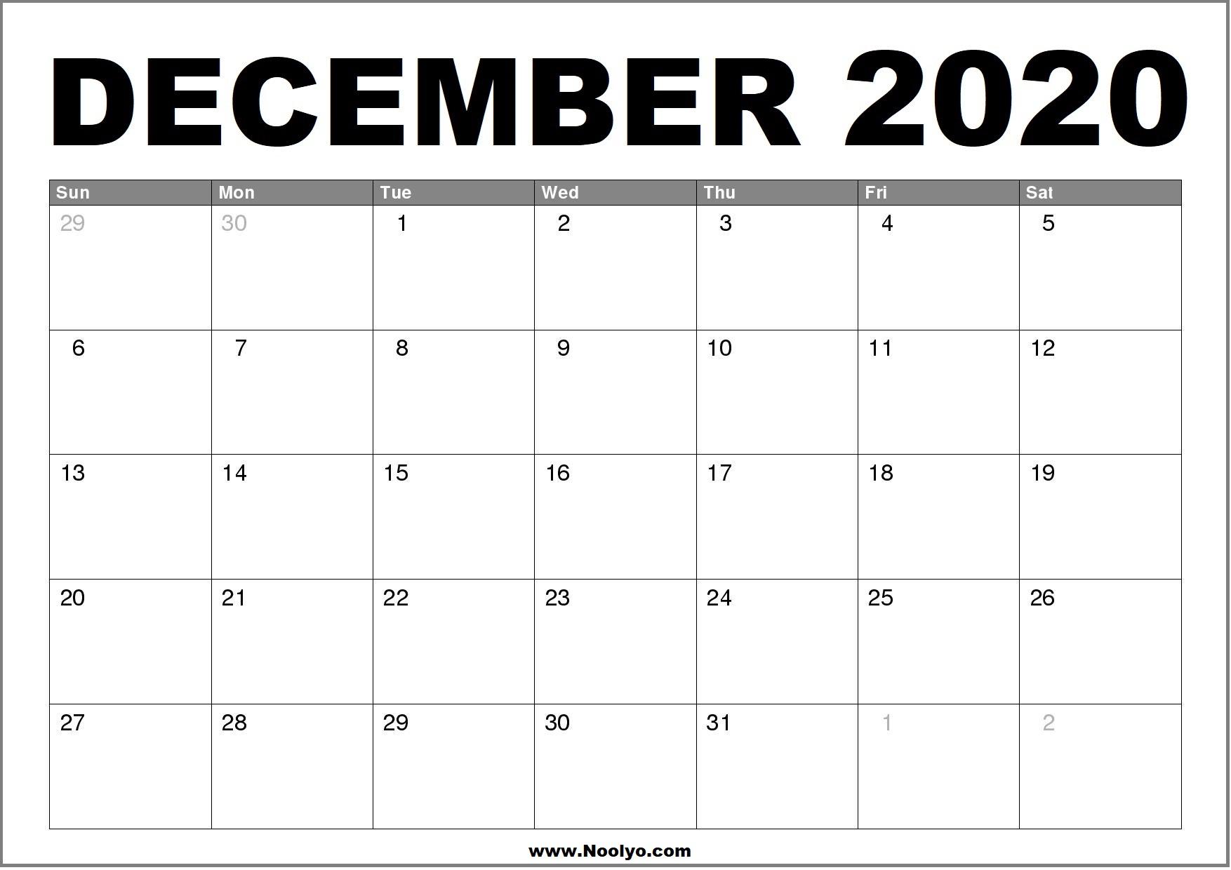 Printable calendar for december 2020 | 2020 Monthly ...